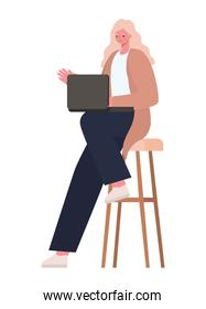 seated blond woman with laptop on chair working vector design