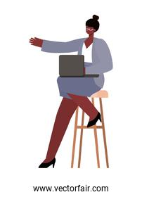 seated black woman with laptop on chair working vector design