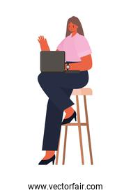 seated woman with laptop on chair working vector design
