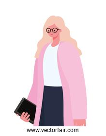 blond woman with tablet working vector design