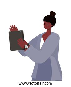 afro woman with tablet working vector design