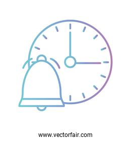 Bell with clock gradient style icon vector design