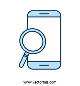 lupe with smartphone line and fill style icon vector design