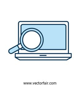 lupe with laptop line and fill style icon vector design
