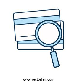 lupe with credit cards line and fill style icon vector design