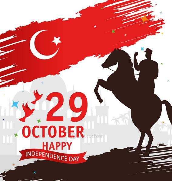 29 october republic day turkey and military in horse with doves flying