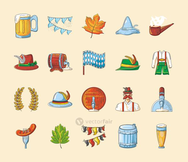 set of icons of the oktoberfest festival