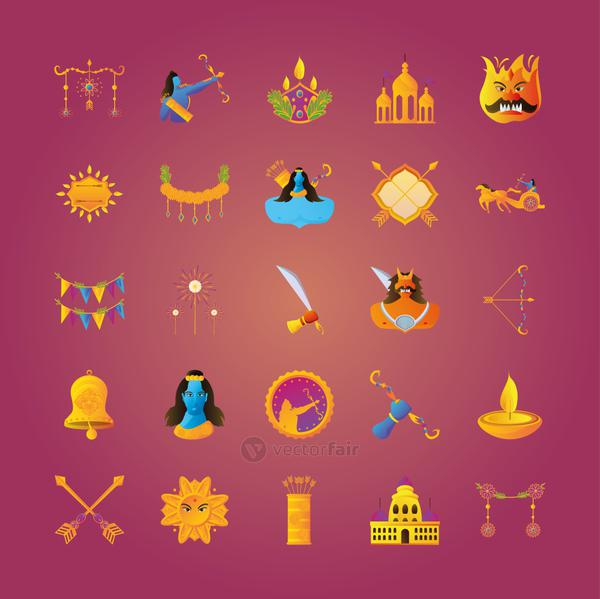set of icons of the dussehra celebration