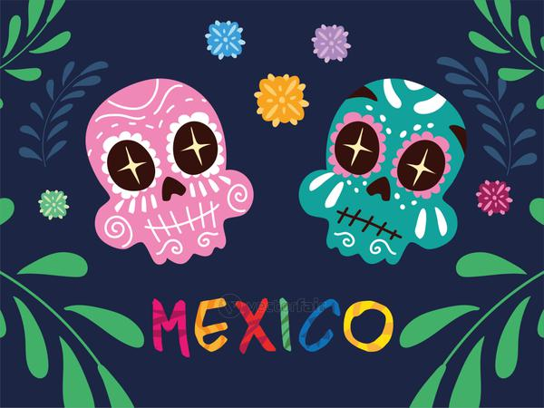 mexico label with mexican skulls, poster