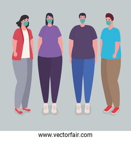 young people wearing medical protective mask against covid19