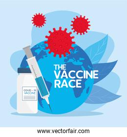 the race between country, for developing coronavirus covid19 vaccine, world planet with syringe and vial