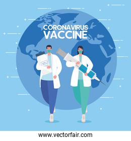 the race between country, for developing coronavirus covid19 vaccine, doctors running and world planet on background
