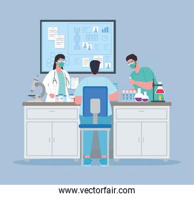 medical vaccine research, doctor group in laboratory for scientific virus prevention study