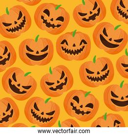 happy halloween background with scary pumpkins