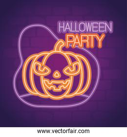 party halloween neon sign with pumpkin
