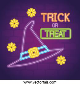 halloween neon sign with hat witch