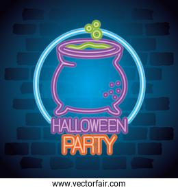 party halloween neon sign with cauldron witch
