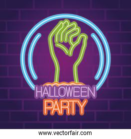 party halloween neon sign with hand zombie