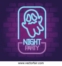 party halloween neon sign with scary ghost