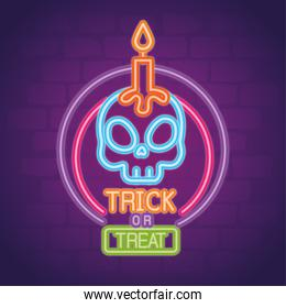 halloween neon sign with skull and candle