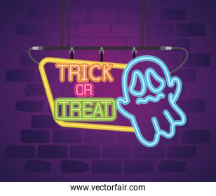 party halloween neon sign and scary ghost