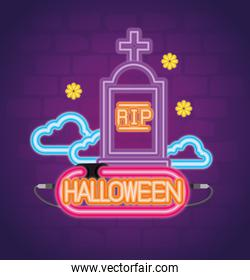 halloween neon sign with tombstone and clouds