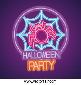party halloween neon sign with spider and cobweb