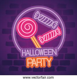 party halloween neon sign with candies