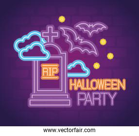 party halloween neon sign with tombstone and decoration