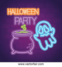 party halloween neon sign with ghost and cauldron witch