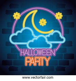 party halloween neon sign with moon and clouds