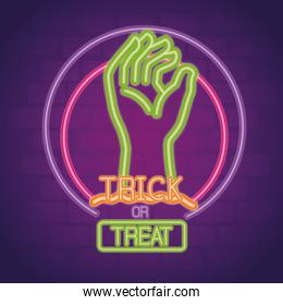halloween neon sign with hand zombie