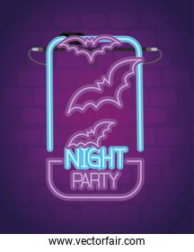 party halloween neon sign with bats flying