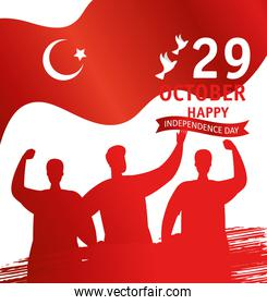 29 october republic day turkey with people and flag