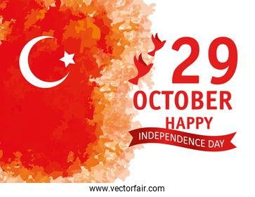 29 october republic day turkey with doves flying