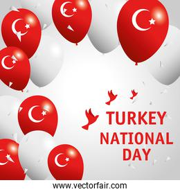 29 october republic day turkey card with balloons helium and doves flying