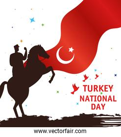 29 october republic day turkey, with military in horse and flag