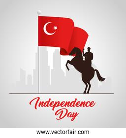 29 october republic day turkey with military in horse with flag