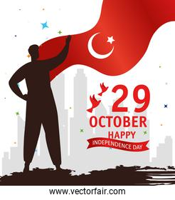 29 october republic day turkey with person and flag emblem
