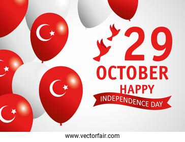 29 october republic day turkey with balloons helium and doves flying