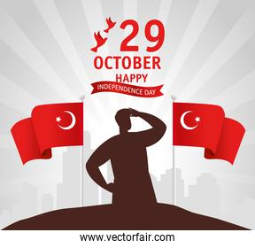 29 october republic day turkey with person and flags