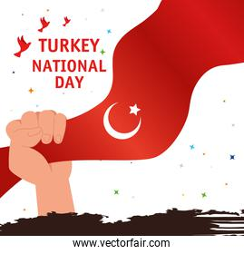 29 october republic day turkey with hand and flag