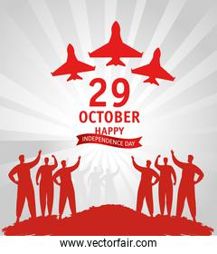 29 october republic day turkey with people and war planes
