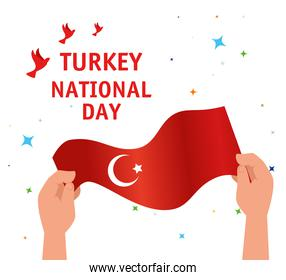 29 october republic day turkey with hands holding flag