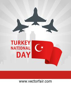 29 october republic day turkey with war planes and flag