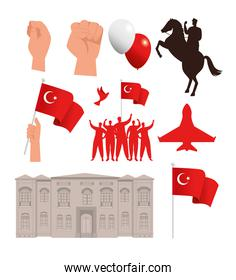 set icons for 29 october republic day turkey