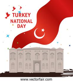 29 october republic day turkey with the grand assembly and flag
