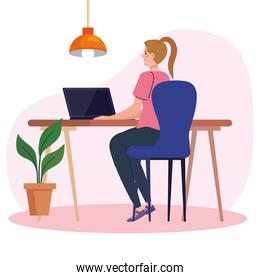young woman using laptop in desk, working online