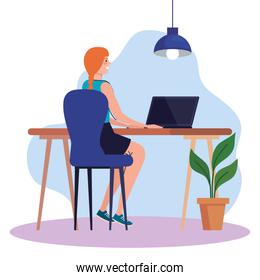 young woman using laptop in desk, working online concept