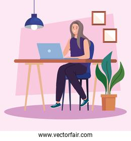 young woman using laptop on desk, working online concept